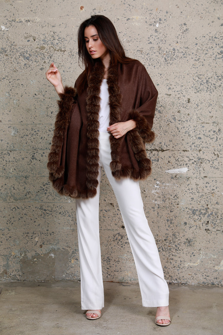 Cashmere Fox Fur Shawl, Brown/Gold, Dolce Cabo