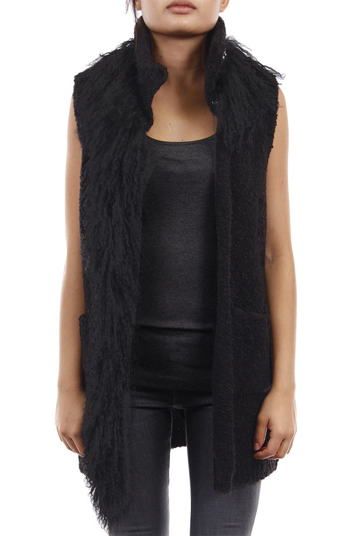 Knitted Mongolian Fur Vest Black, Dolce Cabo