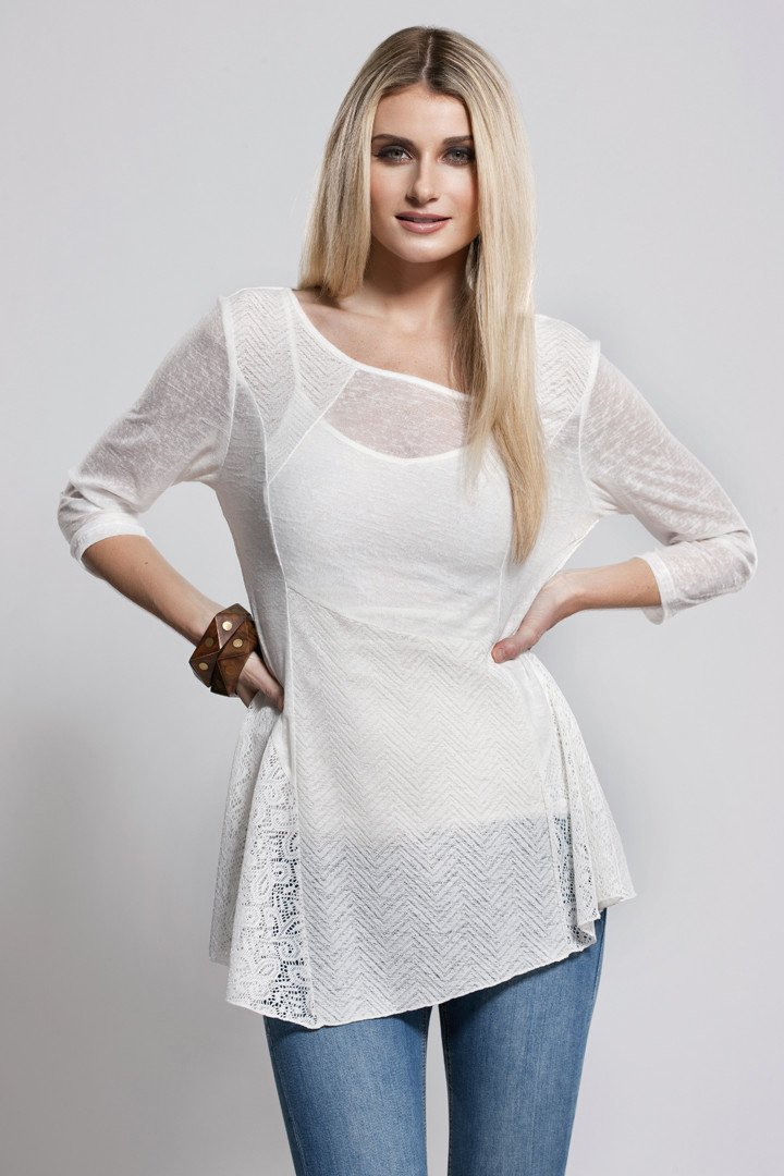 Asymmetrical Hem Top, Knit, White, Dolce Cabo