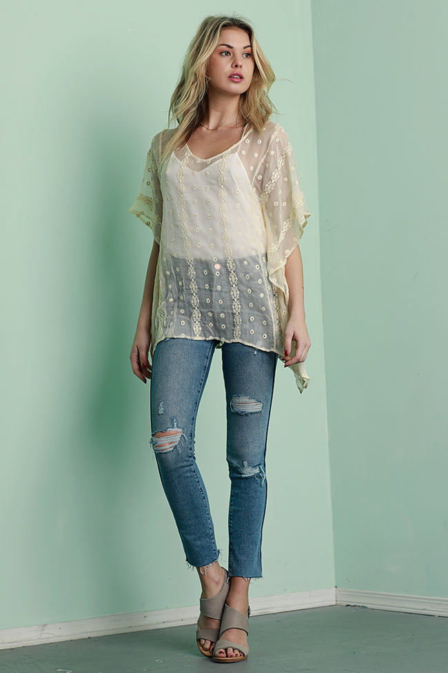 Silk Chiffon Embroidered Tunic, Alabaster, Dolce Cabo