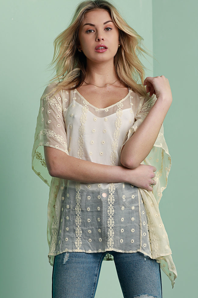 Silk Chiffon Embroidered Tunic