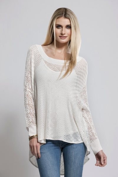 Light Knit Top, White, Long Sleeve, Dolce Cabo
