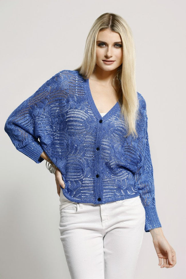 Crochet Knit Cardigan, Blue, Dolce Cabo