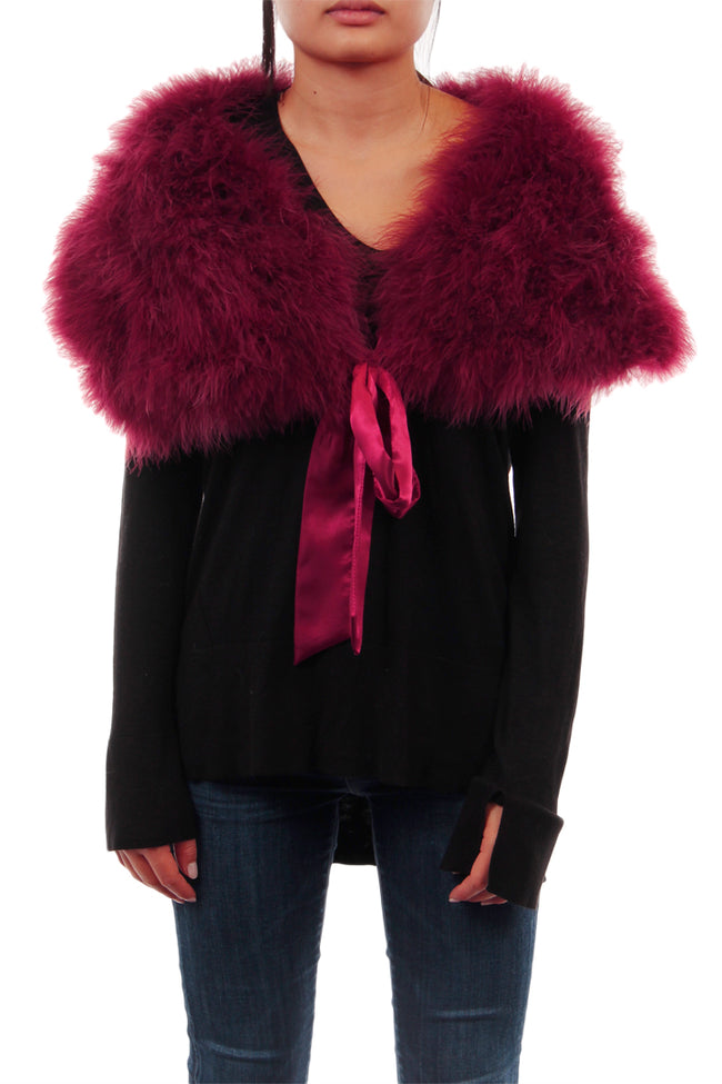 Feathered Wrap Scarf with satin bow tie, Wine, Dolce Cabo