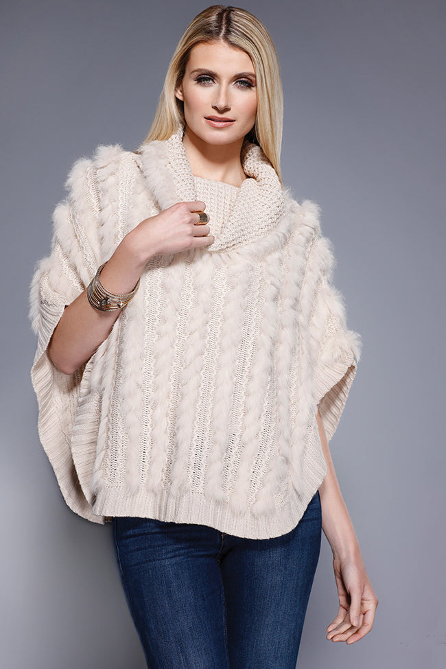 Rabbit Fur Poncho