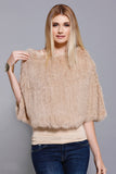 Rabbit Crop Poncho, Champagne, Rabbit Fur, Dolce Cabo