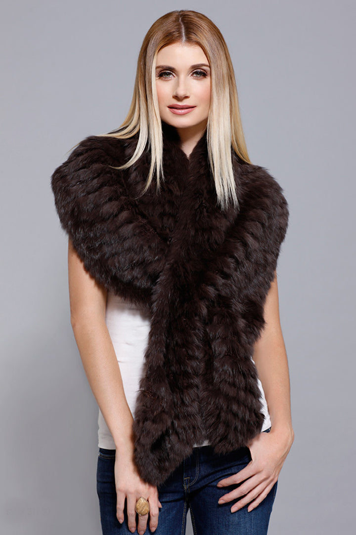 Rabbit Fur Stole, Black, Dolce Cabo