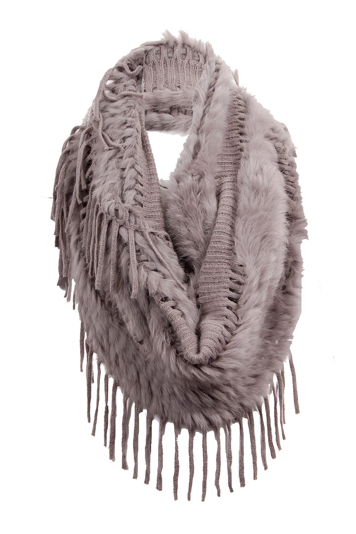 Faux Suede Poncho + Fur, Raccoon Fur, Grey, Dolce Cabo