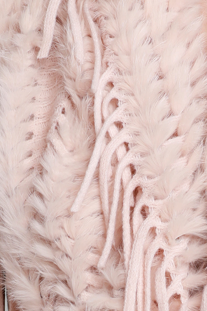 Faux Suede Poncho + Fur, Raccoon Fur, Blush, Dolce Cabo