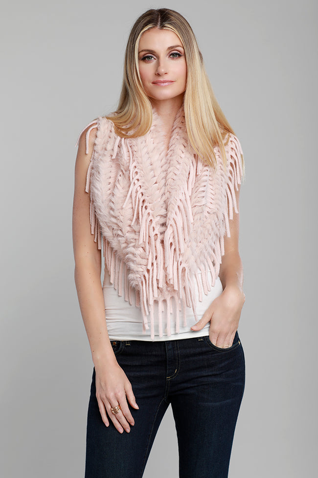 Infinity Rabbit Fur Scarf, Blush, Dolce Cabo
