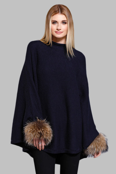 Raccoon Cuff Poncho, Knit, Raccoon Fur, Dolce Cabo, Black