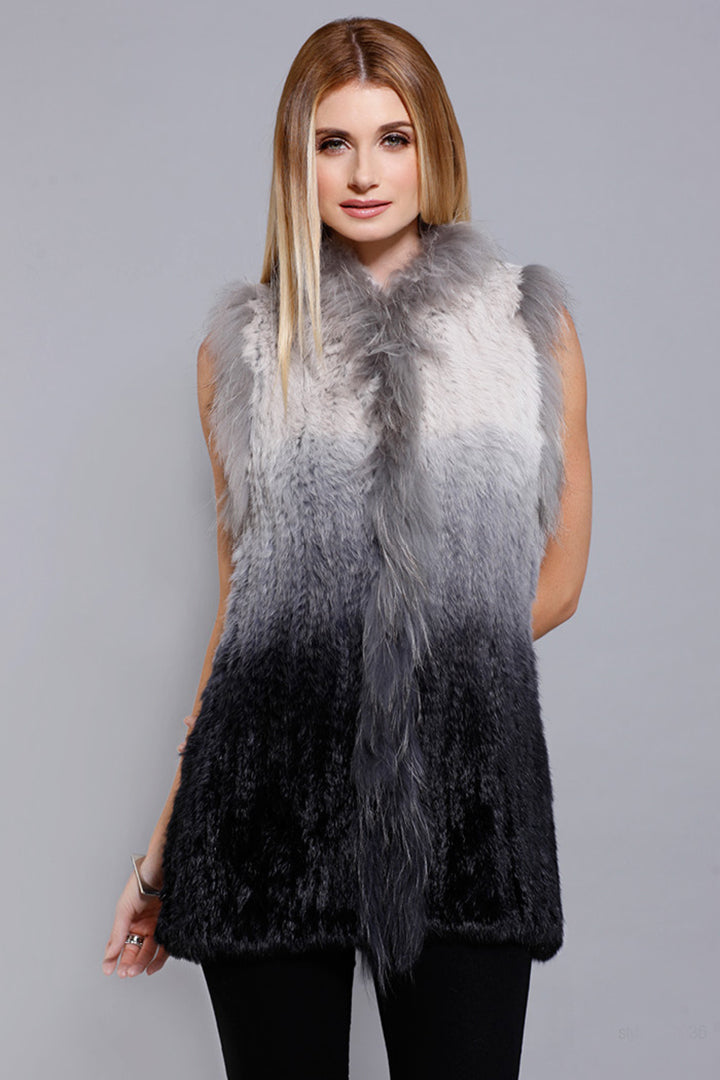 Real Fur Ombre Vest, Rabbit Fur, Raccoon Fur, Grey/Black, Dolce Cabo