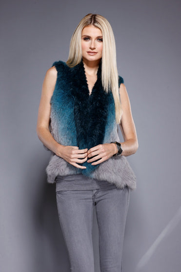 Real Fur Ombre Vest, Rabbit Fur, Teal/Grey