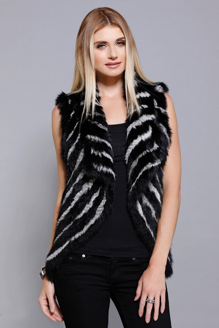 Fur Stripe Vest Rabbit Fur Black/Grey, Dolce Cabo