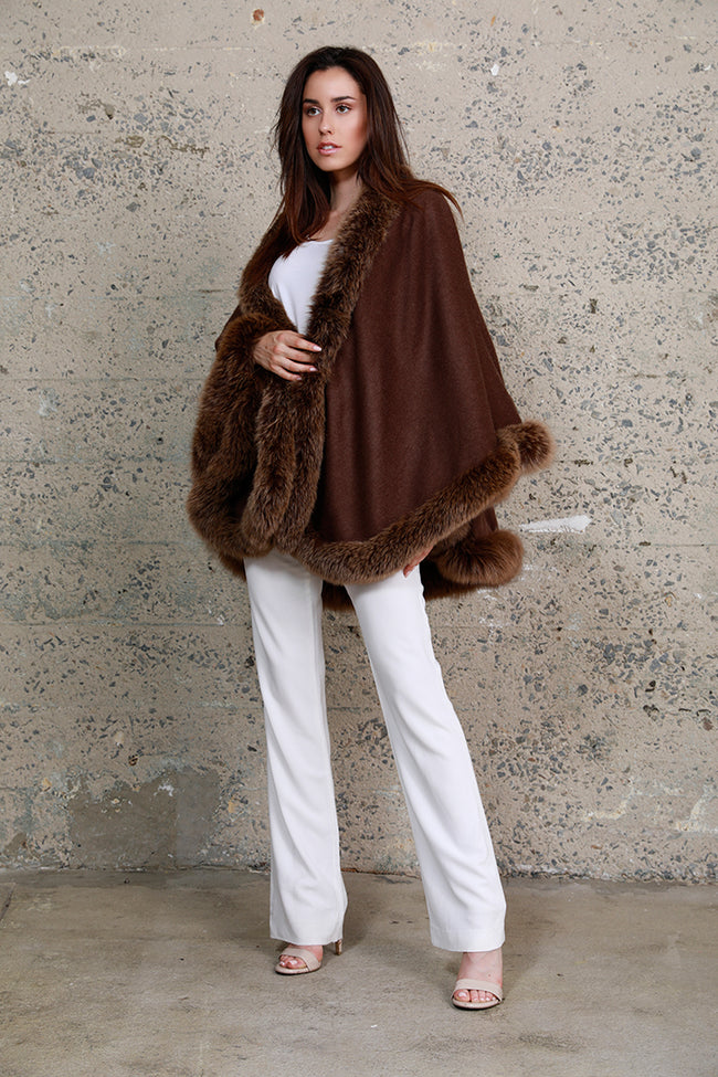 Fox Fur Cashmere Wrap, Brown, Dolce Cabo