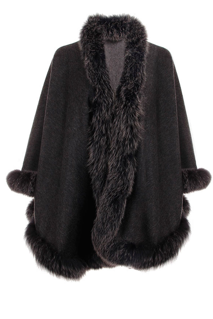 Fox Fur Cashmere Wrap, Black/Grey, Dolce Cabo