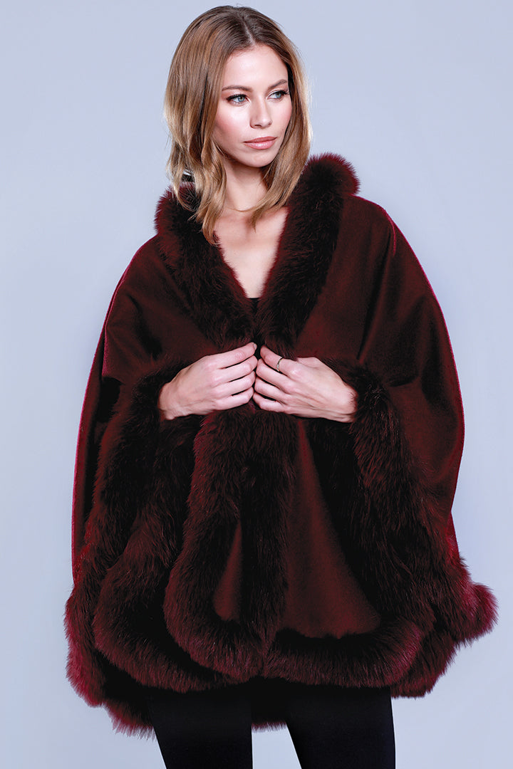 Fox Fur Cashmere Wrap, Wine, Dolce Cabo