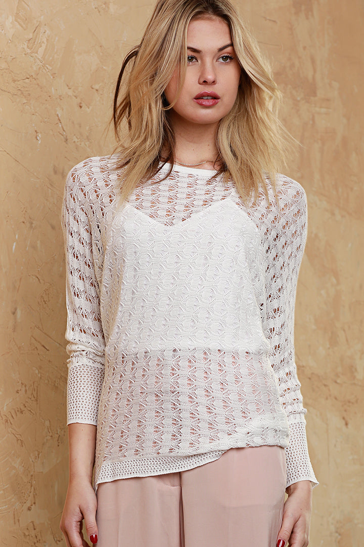 Long Sleeve Knit Top, White, Dolce Cabo