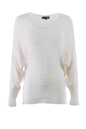 Soft Cable Knit Dolman Top, White, Dolce Cabo