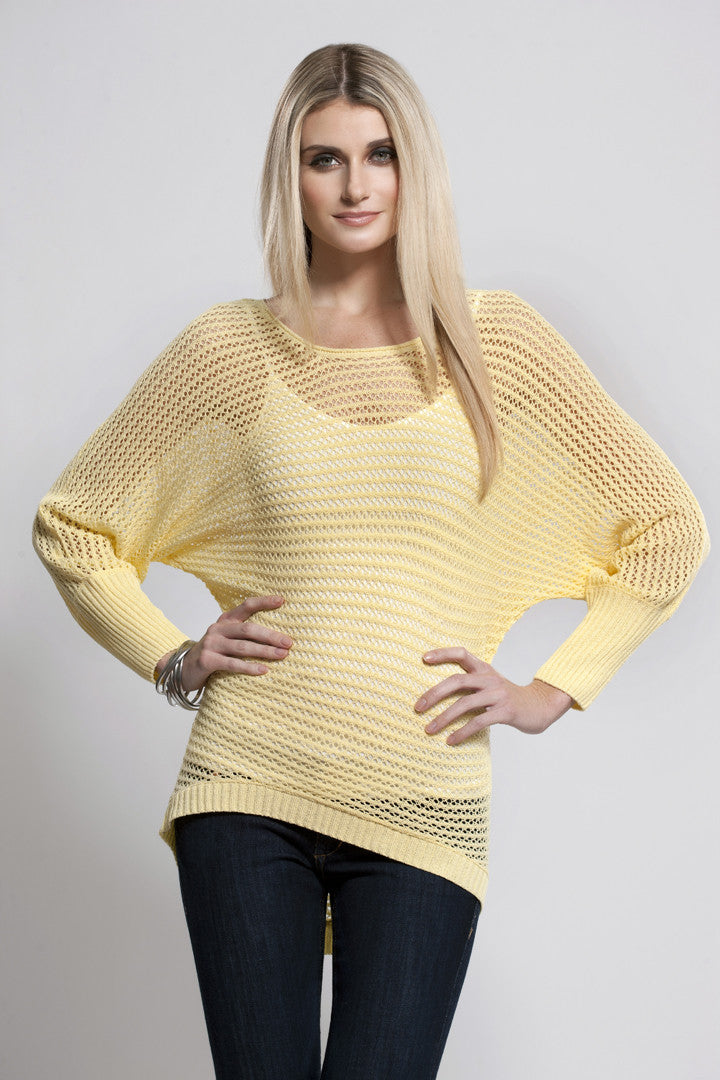 Soft Cable Knit Dolman Top, Banana, Dolce Cabo