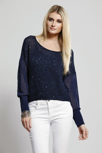 Sequin Knit Top Navy