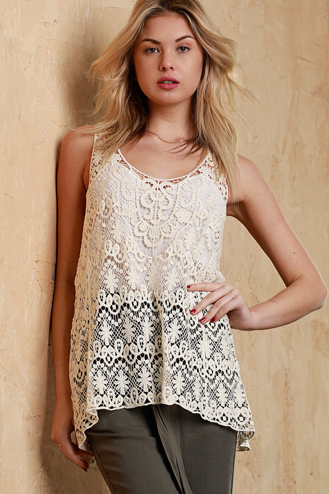 Lace Hi-Lo Tank, Dolce Cabo