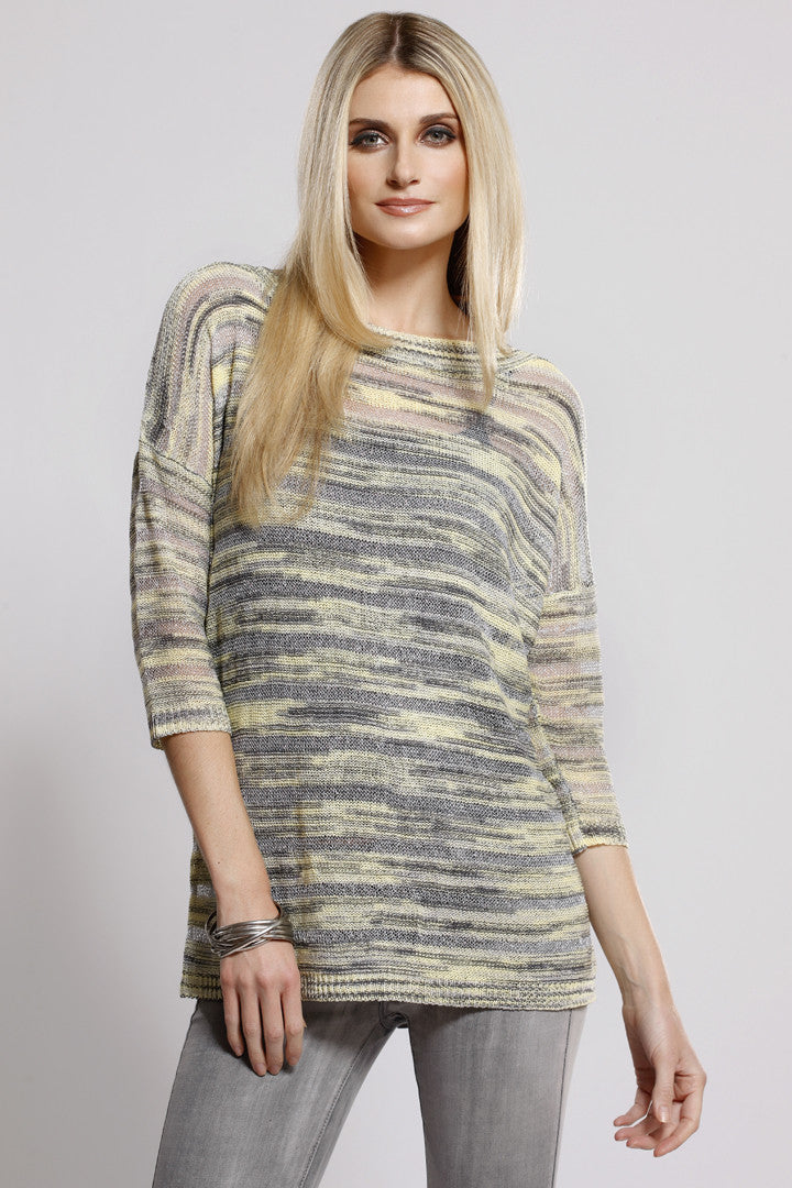 Mixed Knit Top Yellow/Grey Multi, Dolce Cabo