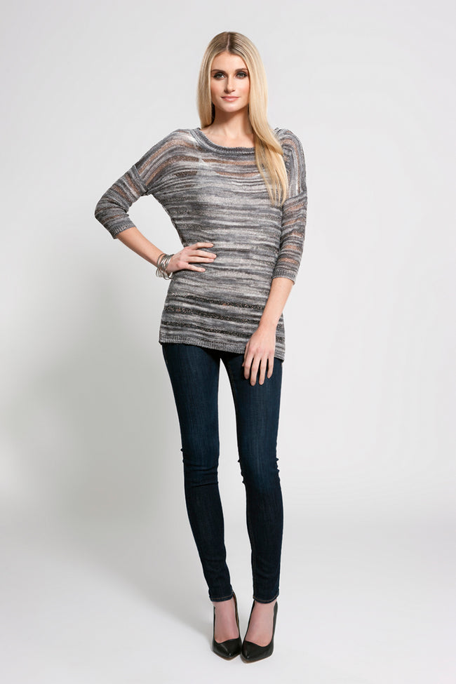 Mixed Knit Top Grey Multi, Dolce Cabo