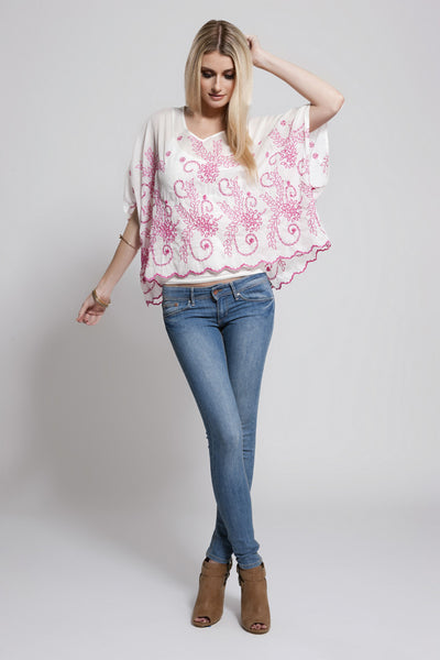 Lace Trim Poncho Pink, Dolce Cabo