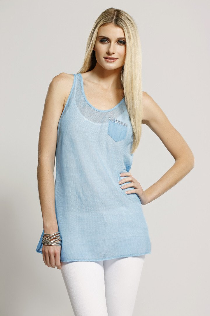 Silk + Cotton, Pocket Tank Blue, Dolce Cabo