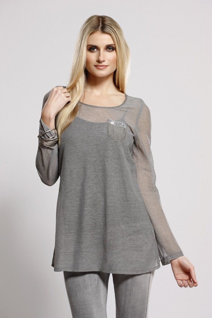 Cotton + Silk Top Grey, Long Sleeve, Dolce Cabo