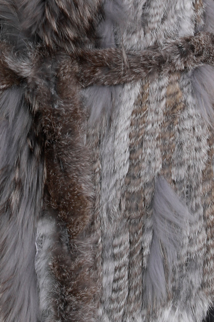 Lush Rabbit + Raccoon Tie Fur Vest, Grey, Dolce Cabo