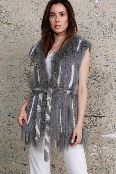 Two-Tone Rabbit Fur Vest, Grey/White, Dolce Cabo