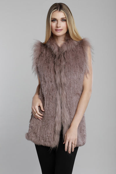 Rabbit + Fox Fur Trim Vest, Dolce Cabo, Taupe