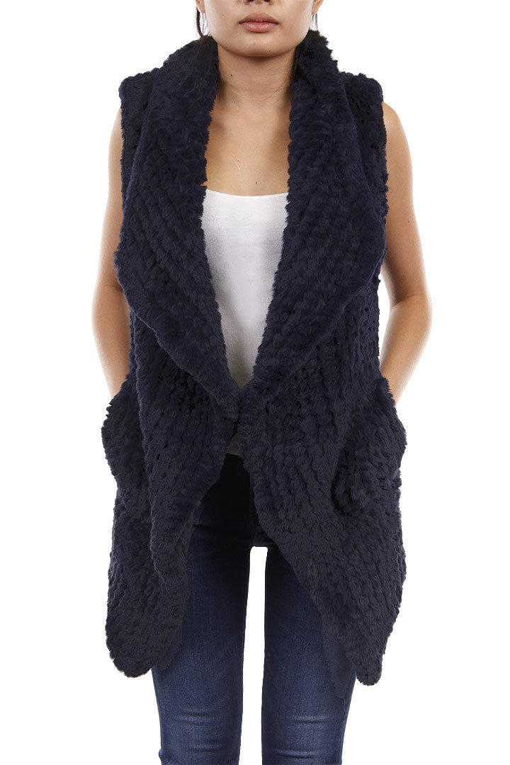 Faux Fur Rex Vest Blue