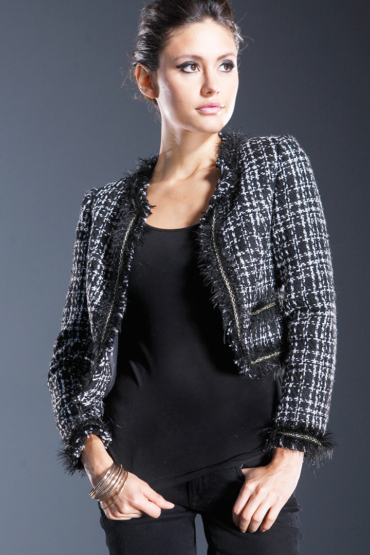 Crop Tweed Fringe Jacket, Black/White Multi, Dolce Cabo