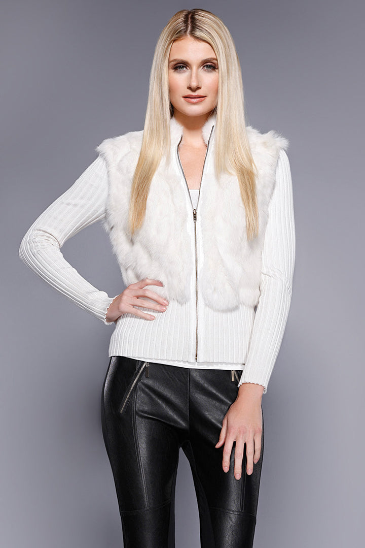 Rabbit Fur Cardigan Ivory, Dolce Cabo