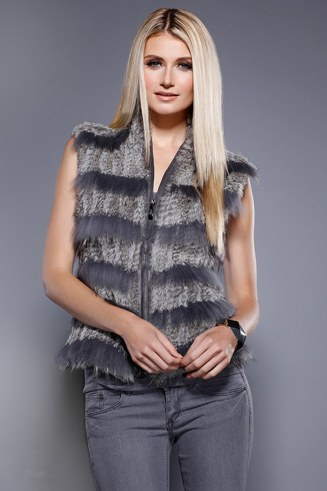 Fur Combo Zip Vest Grey Rabbit + Racoon Fur, Dolce Cabo