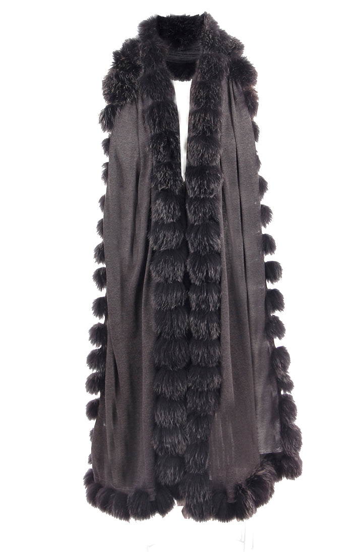 Cashmere Fox Fur Wrap, Knit, Fox Fur, Charcoal, Scarf, Dolce Cabo