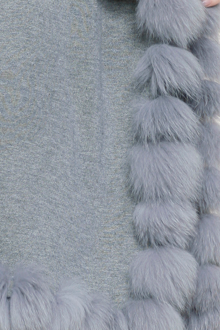 Cashmere Fox Fur Wrap, Knit, Fox Fur, Heather Grey, Scarf, Dolce Cabo