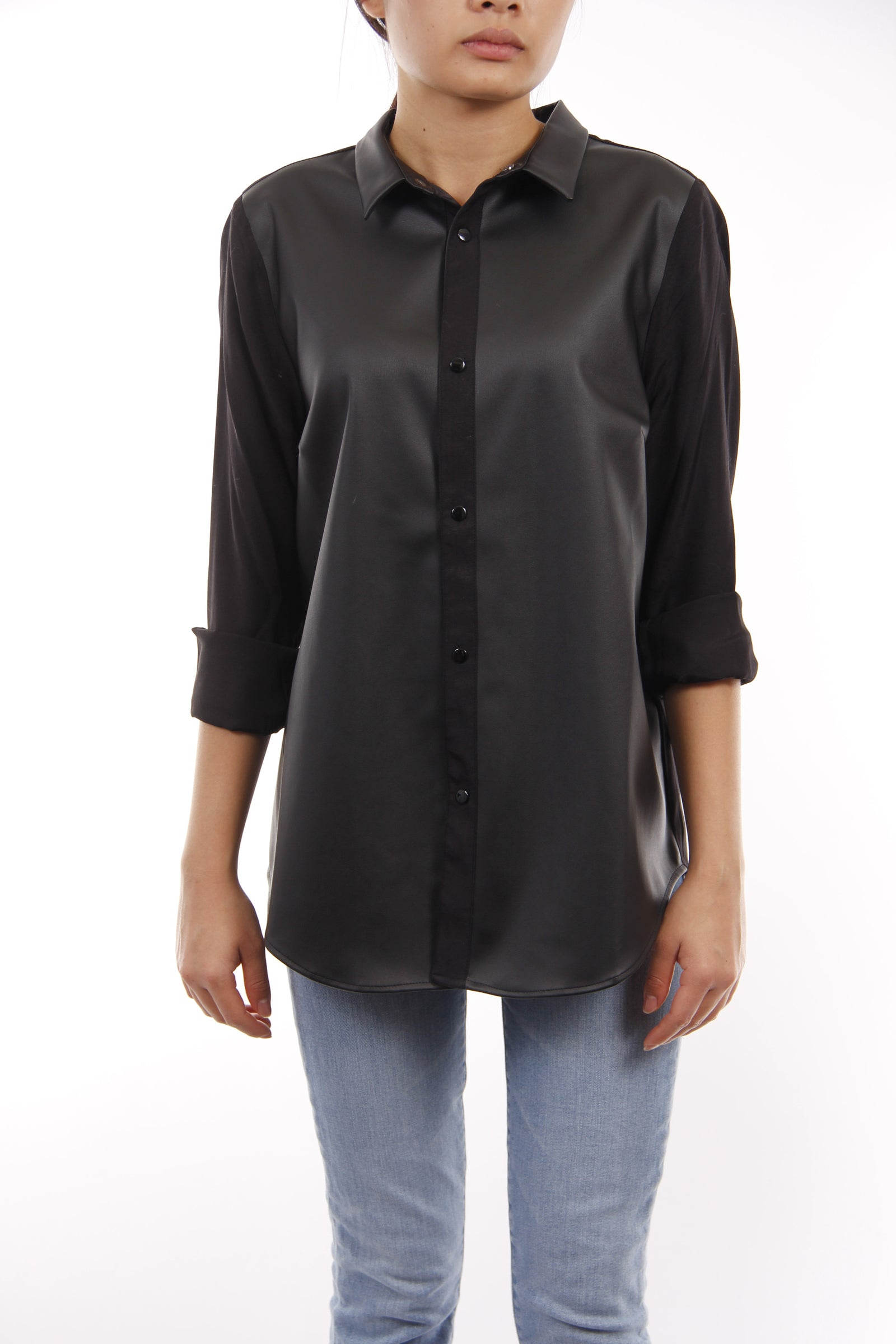 Faux Leather Button Down Top, Dolce Cabo Black