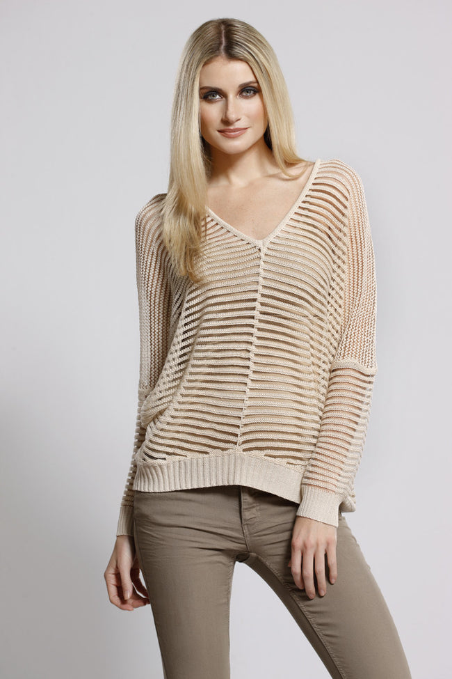 Knit Stripe Top Oatmeal, Dolce Cabo