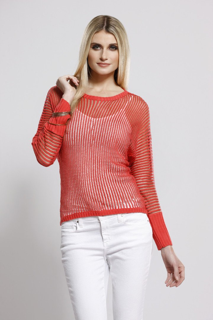 Cable Knit Top Coral