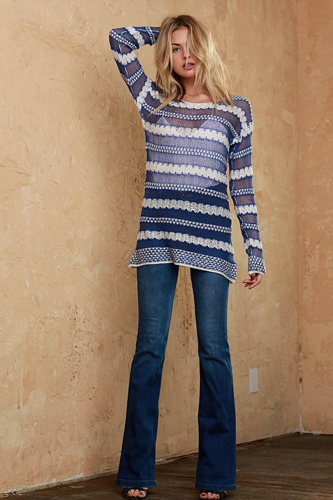Bright Crotchet Knit Blouse, Blue, Dolce Cabo