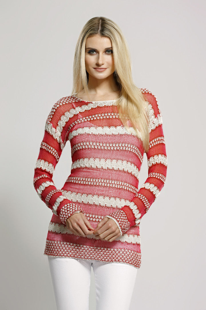 Two Color Knit Top Coral
