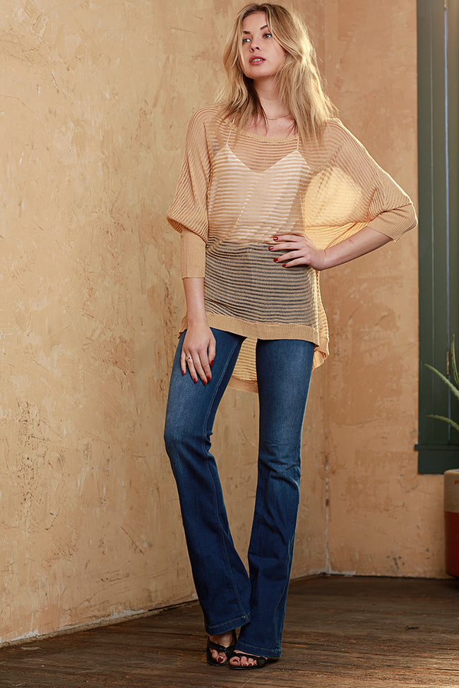 Draped Dolman Sleeve Knit Blouse