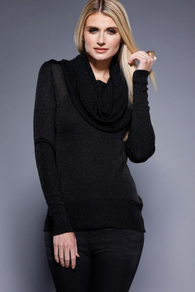 Open Drape Cowl Neck Top, Black, Dolce Cabo