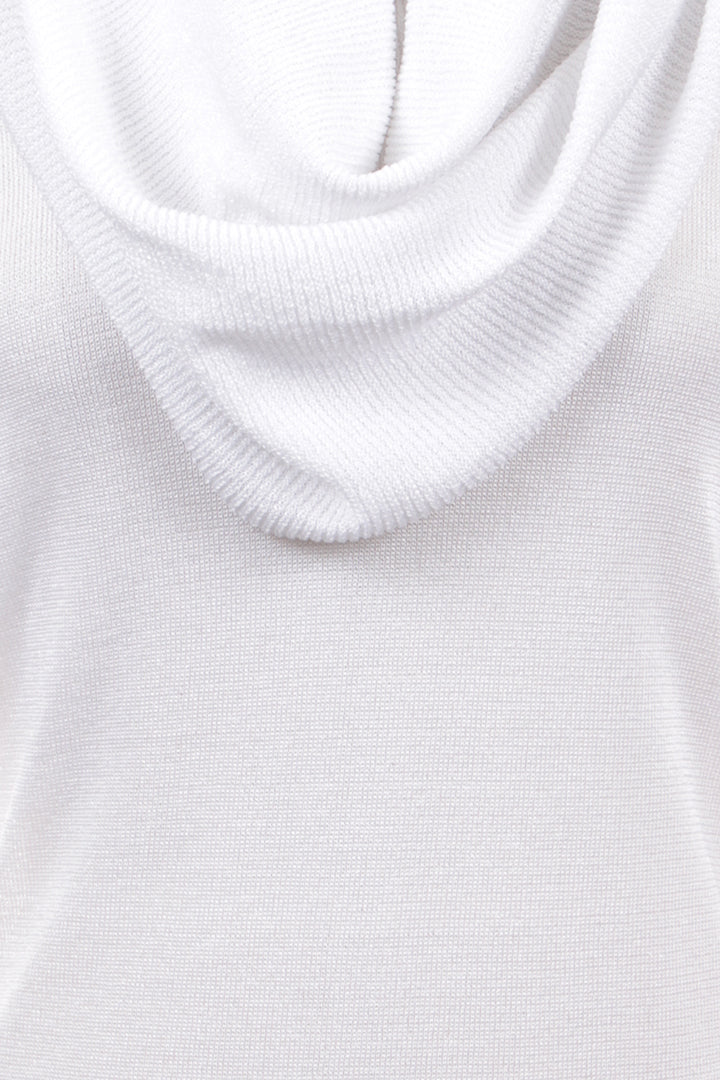 Open Drape Cowl Neck Top, White, Dolce Cabo