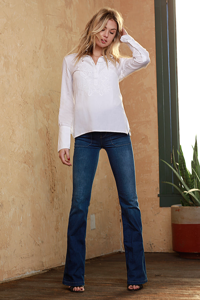 Fiona Embroidered Blouse, Woven, White, Dolce Cabo