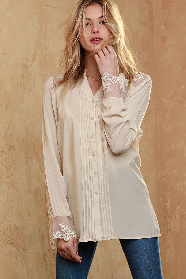 Summer Garden Lace Trim Blouse, Beige, Dolce Cabo, Woven